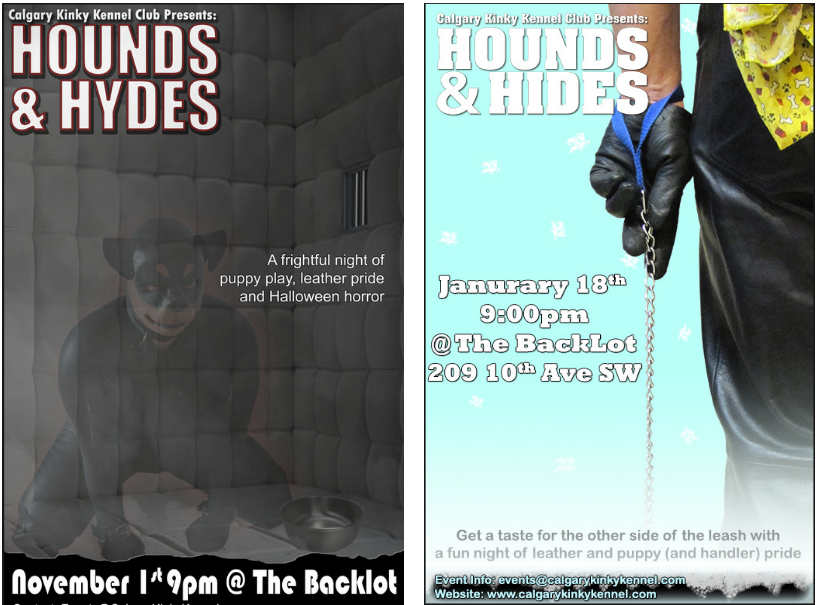 "Left: The poster of a Halloween edition of Hounds and Hides titled ""Hounds and Hydes"", a play on words referencing the story of Dr. Jekyll and Mr. Hyde. Right: The poster of a winter edition of Hounds and Hides that was dedicated to the other side of the leash—Handlers."